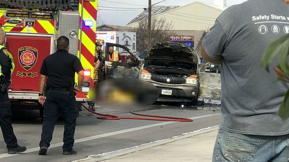 Man dead after car crashes into median, becomes engulfed in flames