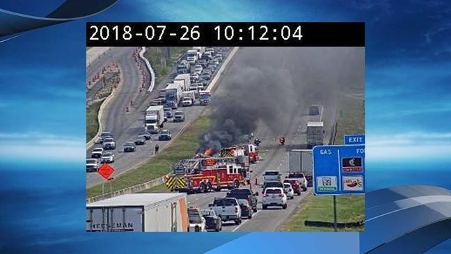Police: Driver in fiery crash on I-35 told officers there was a bomb