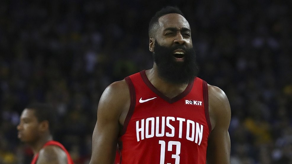 05f7cf858016 Houston Rockets  James Harden reacts during the second half of the team s  NBA basketball game against the Golden State Warriors Thursday