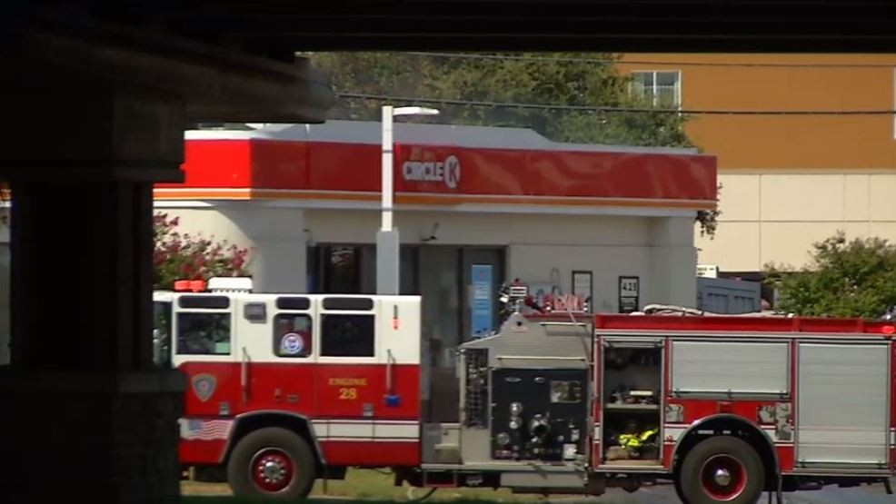 Firefighters battling two-alarm fire at gas station   WOAI