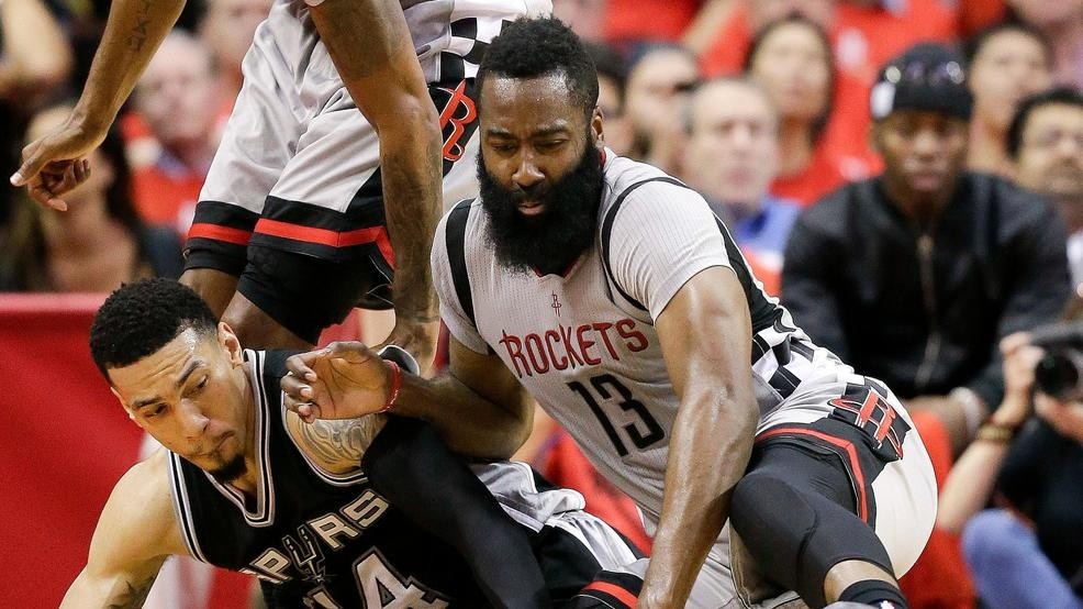 5483c5310690 Houston Rockets guard James Harden (13) and San Antonio Spurs guard Danny  Green chase a loose ball during the second half in Game 6 of an NBA  basketball ...