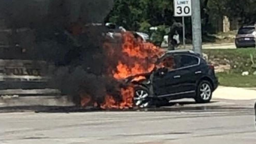 Vehicle in flames after accident closes lanes on North Side