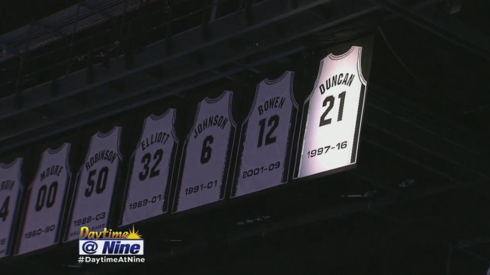 sports shoes 5ddbf 7d558 Tim Duncan propels Spurs atop retired-jersey rankings | WOAI