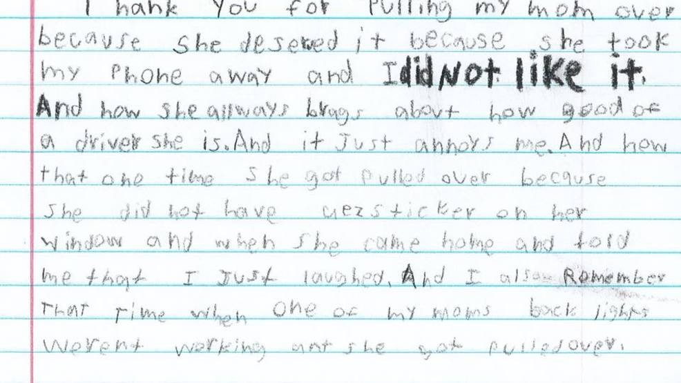 Elementary student pens hilarious thank you letter to police for