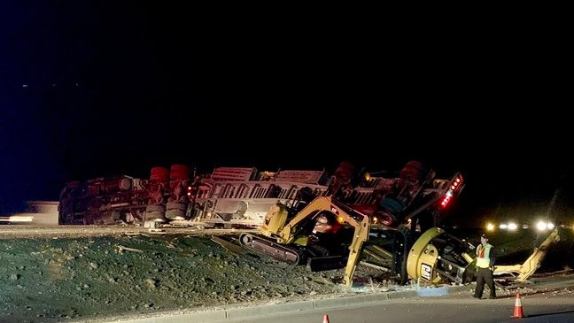 I-10 west reopens after 18-wheeler turns on its side Monday morning