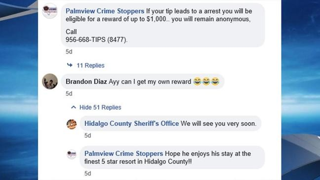 A Texas teen wanted for theft asked for his own reward money